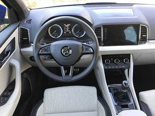 The cabin of the Skoda Karoq has added design flair with muted colours and tactile materials