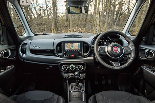 Sue Baker reviews the interior of the Fiat 500L. It has a more modern style with a central touchscreen satnav and infotainment centre