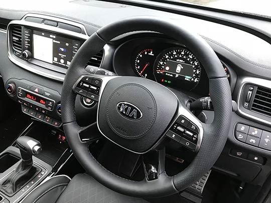 The Kia Sorento is a large and spacious vehicle with a big body, big engine, larger external mirrors, a long interior and big wheels