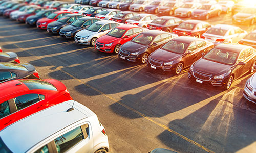cars on a dealership forecourt