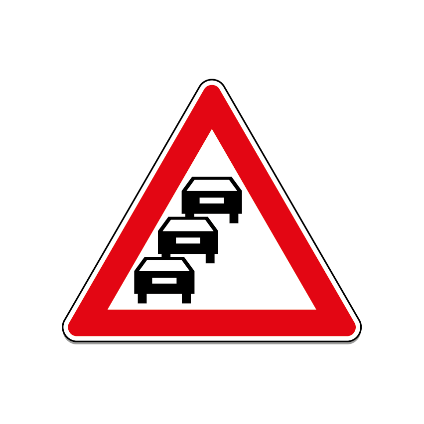 Triangular road sign for queues likely